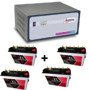 3.6 KVA Sinewave Multi Inverter and 4 pcs Exide EL Master 150