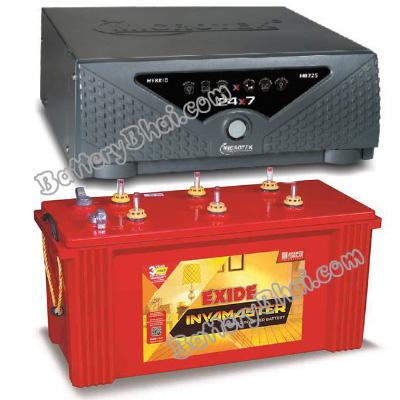 Combo Microtek 24x7 Hybrid 1125 VA Home UPS and Exide InvaMaster IMST1500