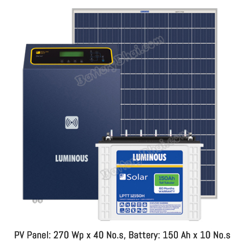 Luminous 10 KW Off Grid Solar System with 10 KW Panel and Luminous Solar LPT12150H