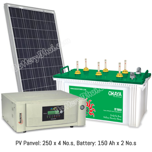 Microtek 1 KVA Off Grid Solar System with 1000 Watt Panel and Okaya Solar ST150H