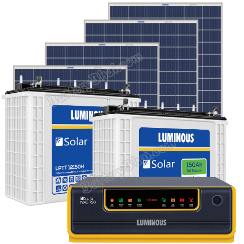 Luminous 1500 VA Off Grid Solar System with 1080 Watts Panel and Luminous Solar LPT12150H