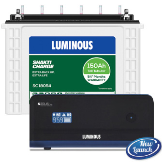 Luminous Zelio 1100 Home UPS and Luminous Shakti Charge SC 18054