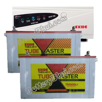 ECO 1500VA Home UPS and 2pcs Exide Tube Master TM500L Plus