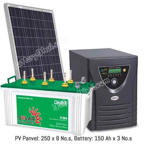Microtek 2 KVA Off Grid Solar System with 2000 Watt Panel and Okaya Solar ST150H