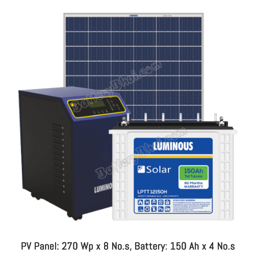 Luminous 2 KW Off Grid Solar System with 2 KW Panel and Luminous Solar LPT12150H
