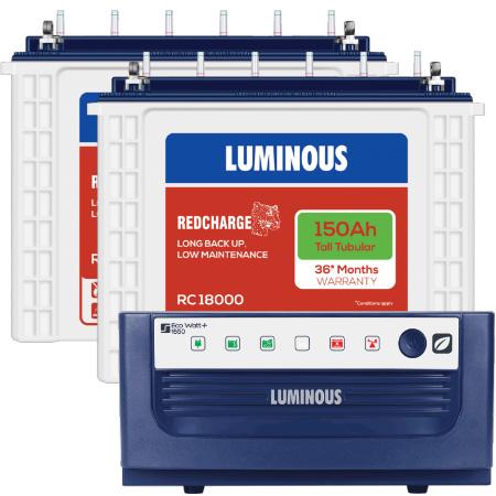 Eco Watt 1650 Home UPS and 2pcs Luminous Red Charge RC 18000