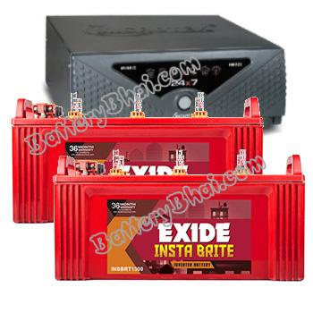 Combo Microtek 24x7 Hybrid 1650 VA Home UPS and 2pcs Exide Insta Brite IB1500