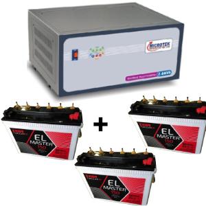 2.6 KVA Sinewave Multi Inverter and 3 pcs Exide EL Master 150