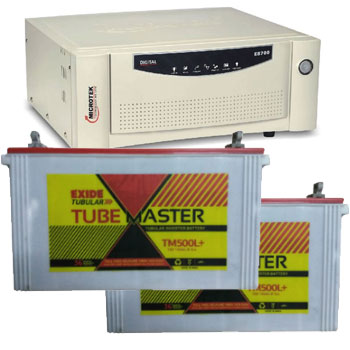 Microtek + Exide Combo-Microtek SEBz 1600 VA Home UPS and 2pcs Exide Tube Master TM500L Plus