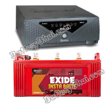Combo Microtek 24x7 Hybrid 725 VA Home UPS and Exide Insta Brite IB1500