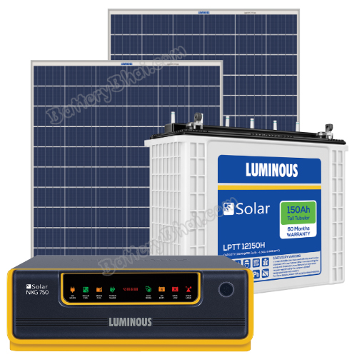 Luminous 1100 VA Off Grid Solar System with 300 watts Panel and Luminous Solar LPTT12150H