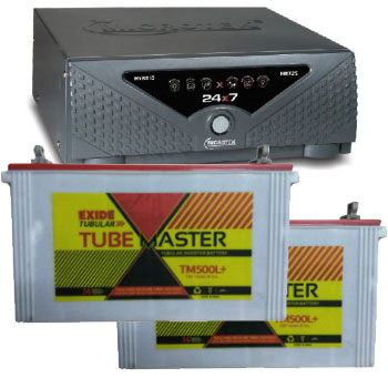Combo Microtek 24x7 Hybrid 1650 VA Home UPS and 2pcs Exide Tube Master TM500L Plus