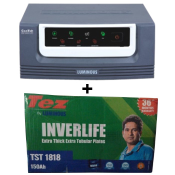 Eco Volt 1050 Home UPS and Luminous TEZ TST 1818
