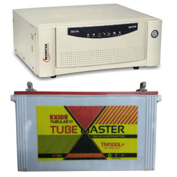 Microtek + Exide Combo-Microtek SEBz 900 VA Home UPS and Exide Tube Master TM500L Plus