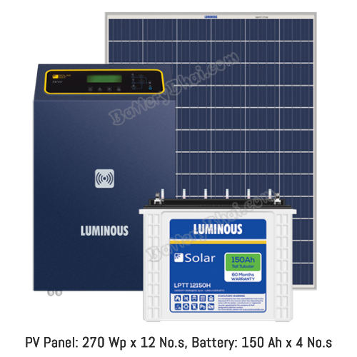 Luminous 3 KW Off Grid Solar System with 3 KW Panel and Luminous Solar LPT12150H