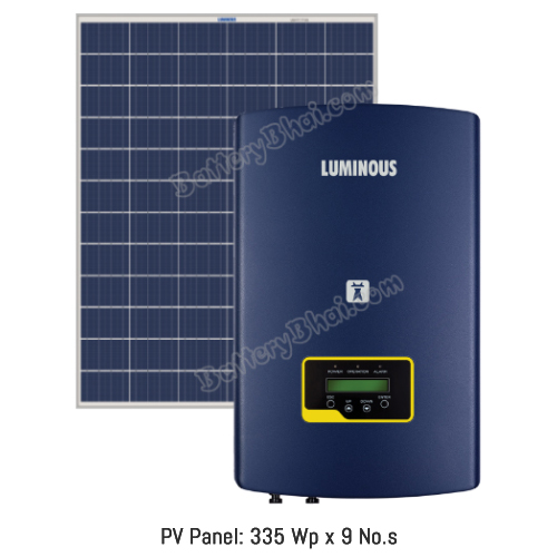 Luminous 3 KW On Grid Solar System with 3 KW Panel