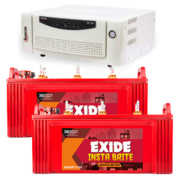 Combo Microtek EB 1700 Home UPS and 2pcs Exide Insta Brite IB1500