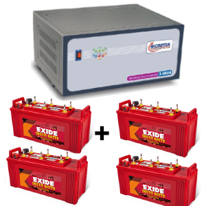 3.6 KVA Sinewave Multi Inverter and 4 pcs Exide Insta Brite IB1500